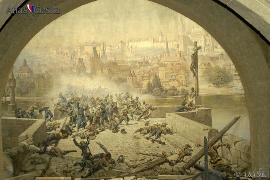 Boj Pražanů se Švédy na Karlově mostě -